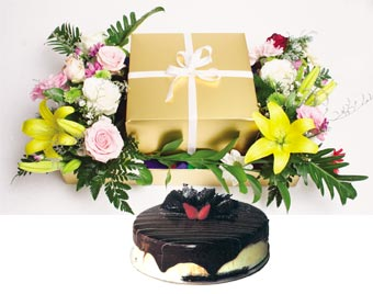 Chocolate Delight + Flowers Arrangement