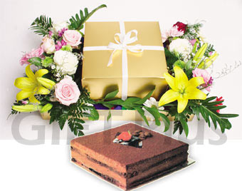 Chocolate Truffle + Flowers Arrangement